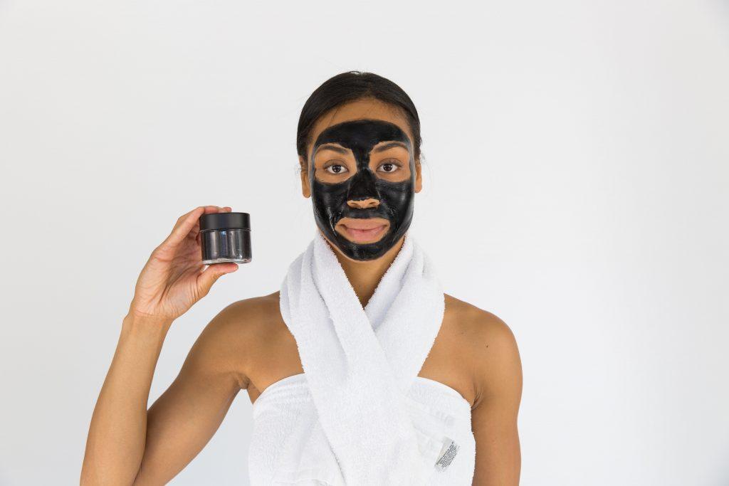 Woman using a face mask. -- DIY facial