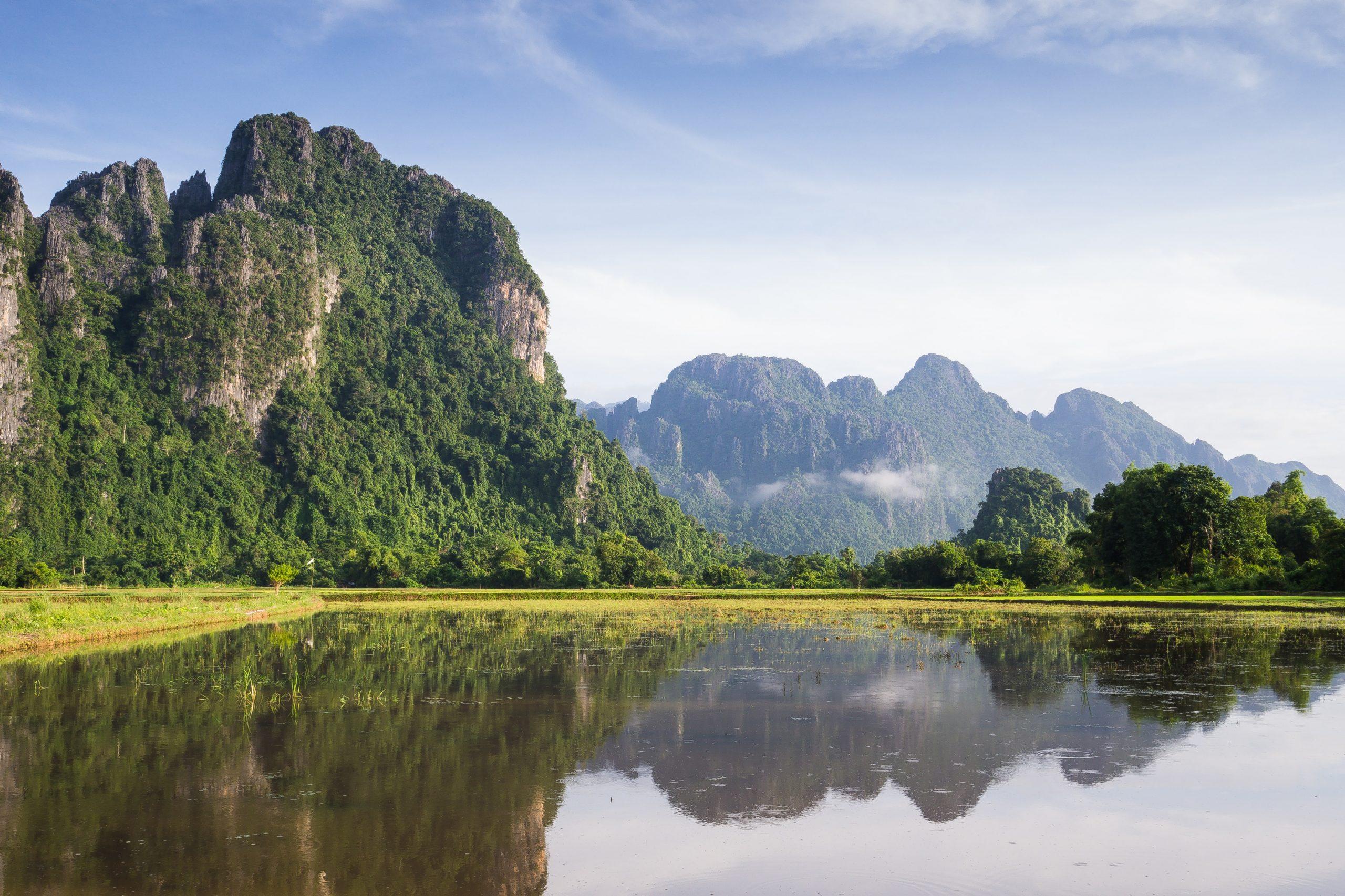 A lakeside mountain view in Laos