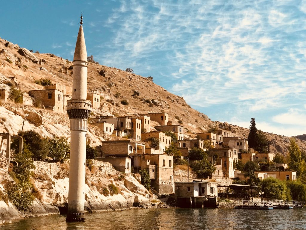 A coastal shot of a historical town in Turkey