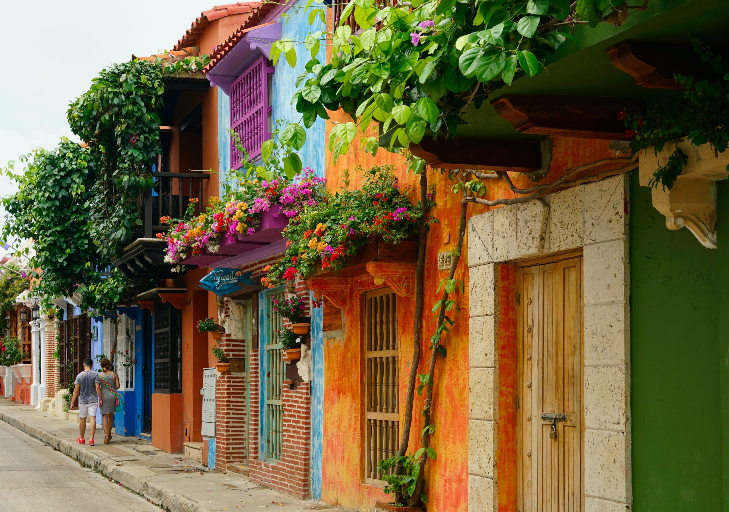A row of brightly colored houses in Cartagena, Colombia
