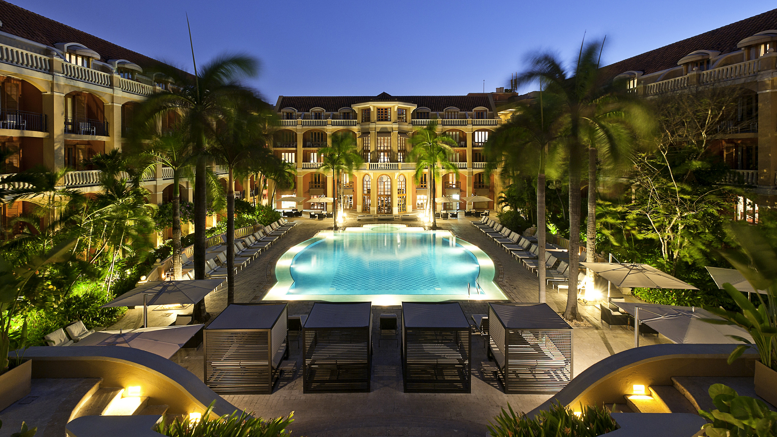 view from the Sofitel Santa Clara Cartagena of the pool and the colonial architecture of the hotel