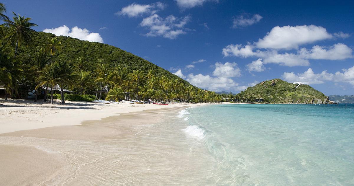 white sand beaches of Peter Island, British Virgin Islands with palm tree border