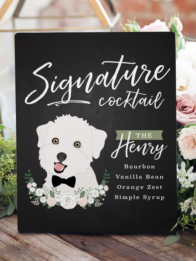 dog themed signature cocktail display