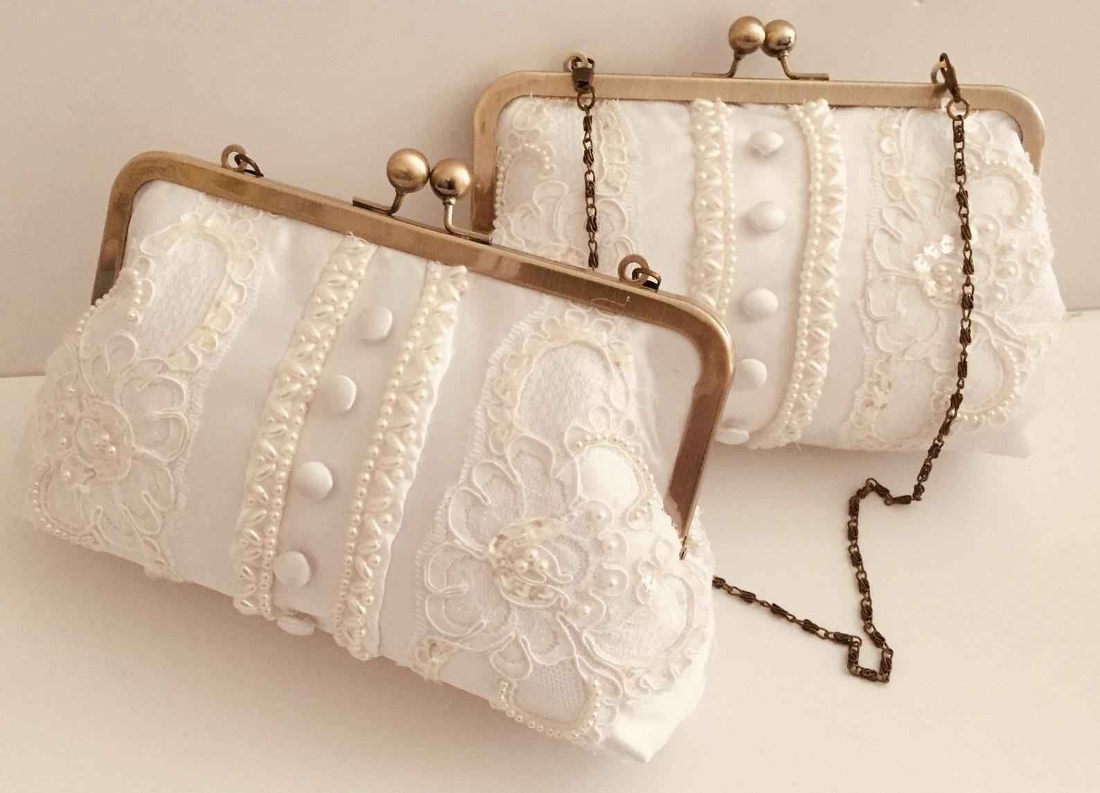 A clutch repurposed from a wedding dress