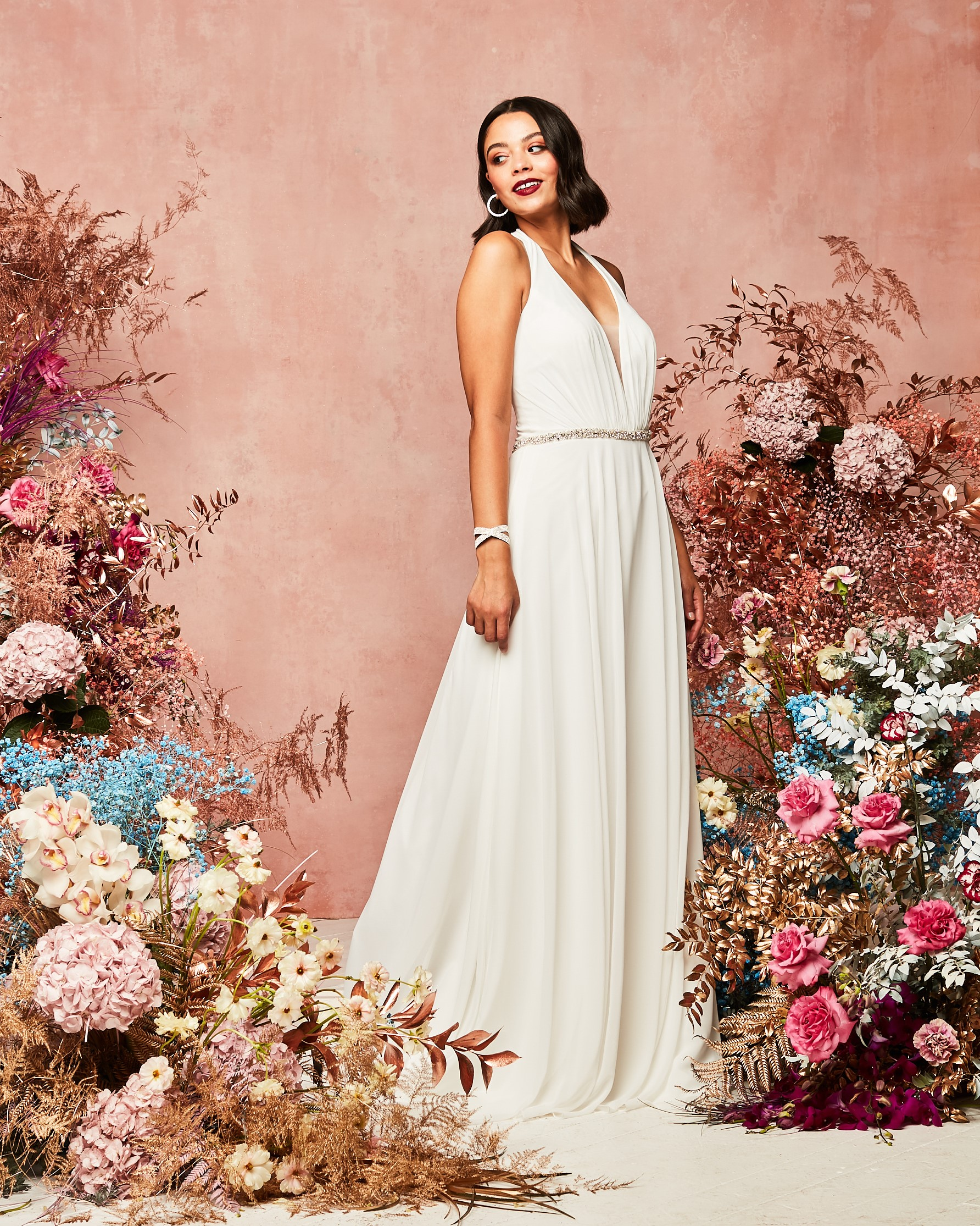 david's bridal spring 2021 collection elegant white draped gown
