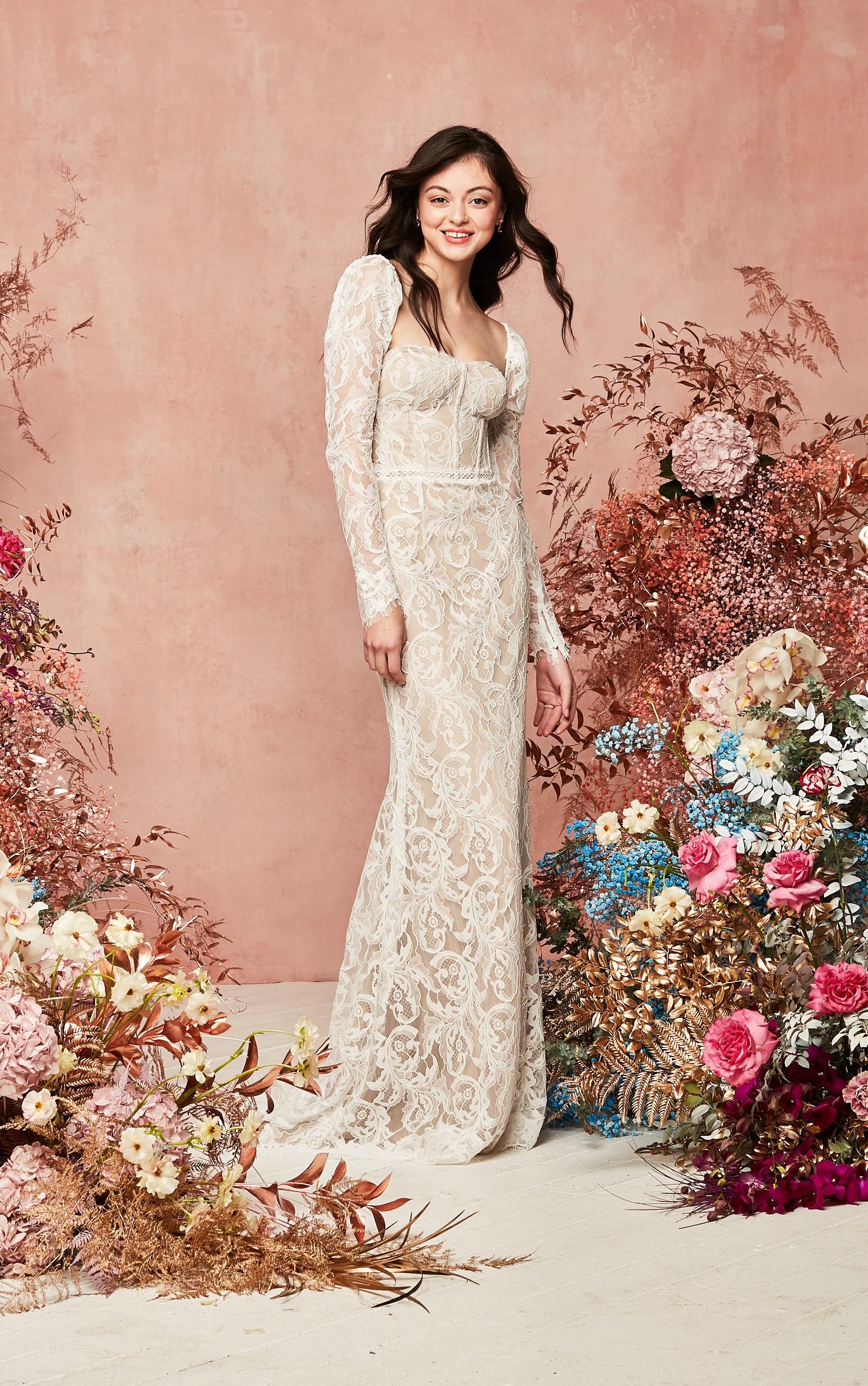 Detachable Sleeves Lace Sheath Wedding Dress david's bridal spring 2021 collection