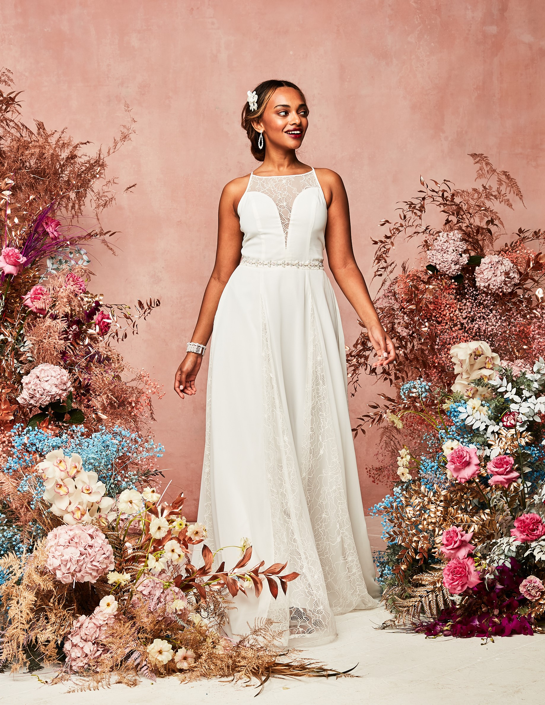 david's bridal spring 2021 collection faux deep v with sheer lace and belt