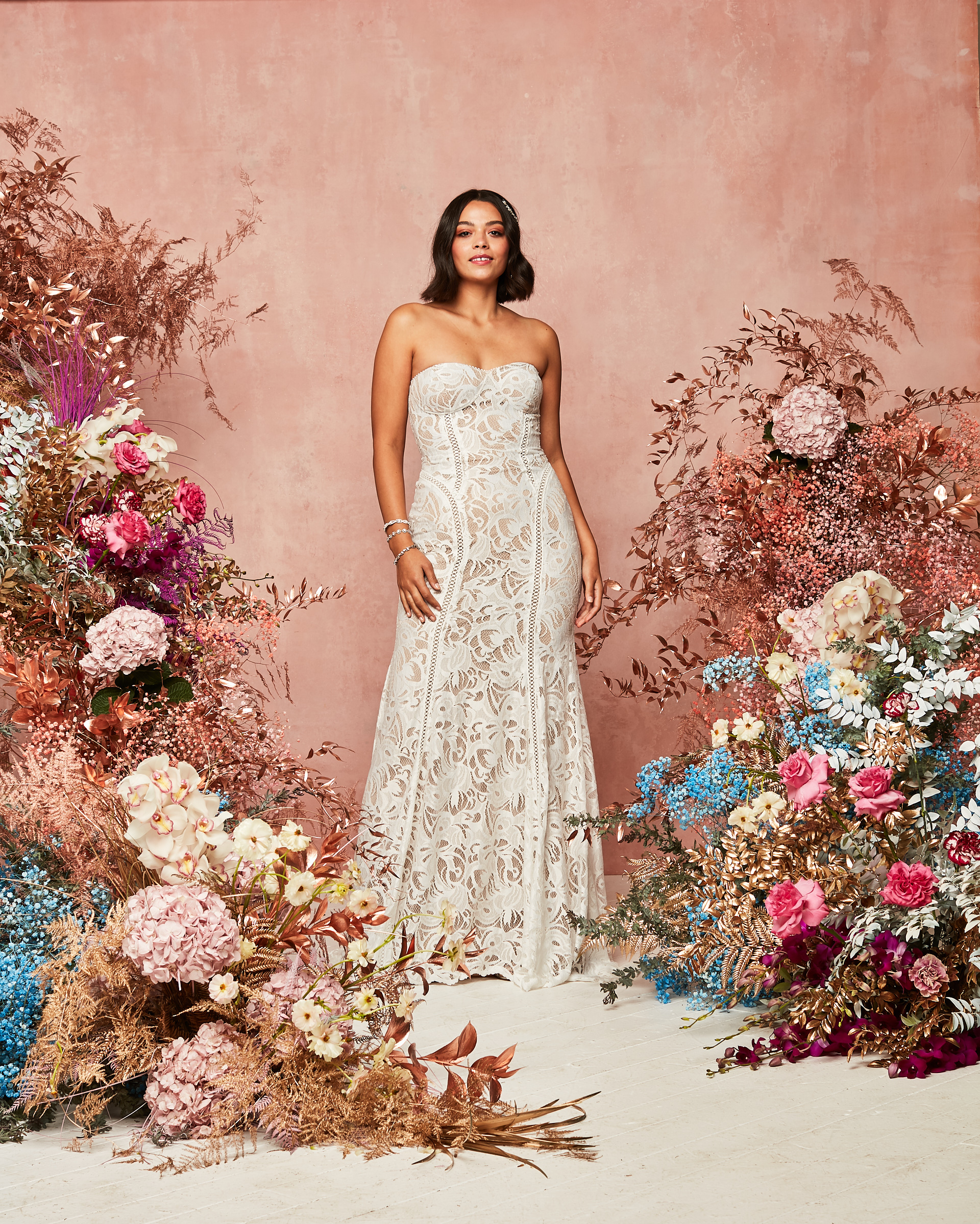 art deco semi-sheer fitted sheeth dress styled with a jacket david's bridal spring 2021 collection