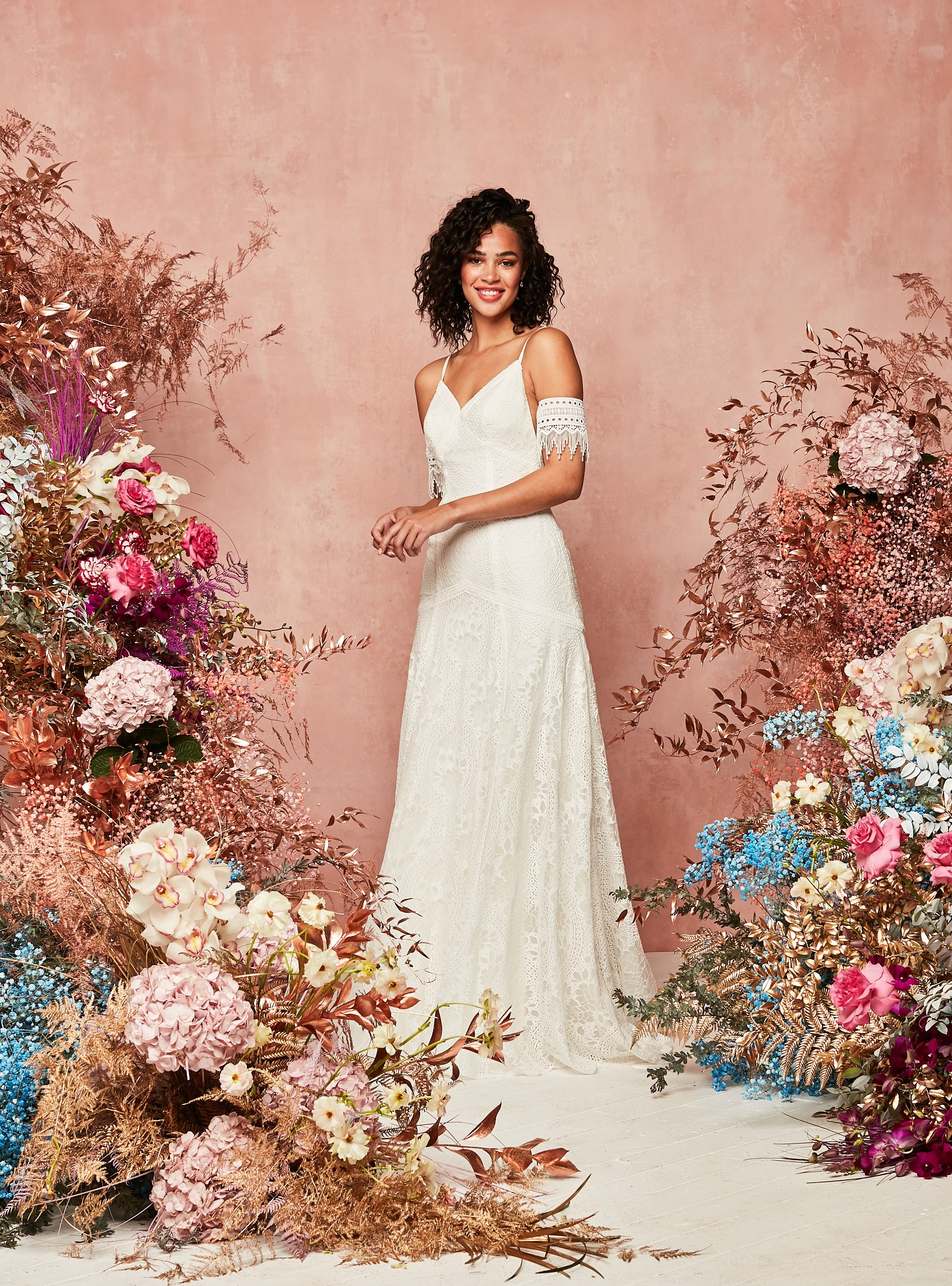 boho lace wedding dress from David's Bridal Spring 2021 Collection