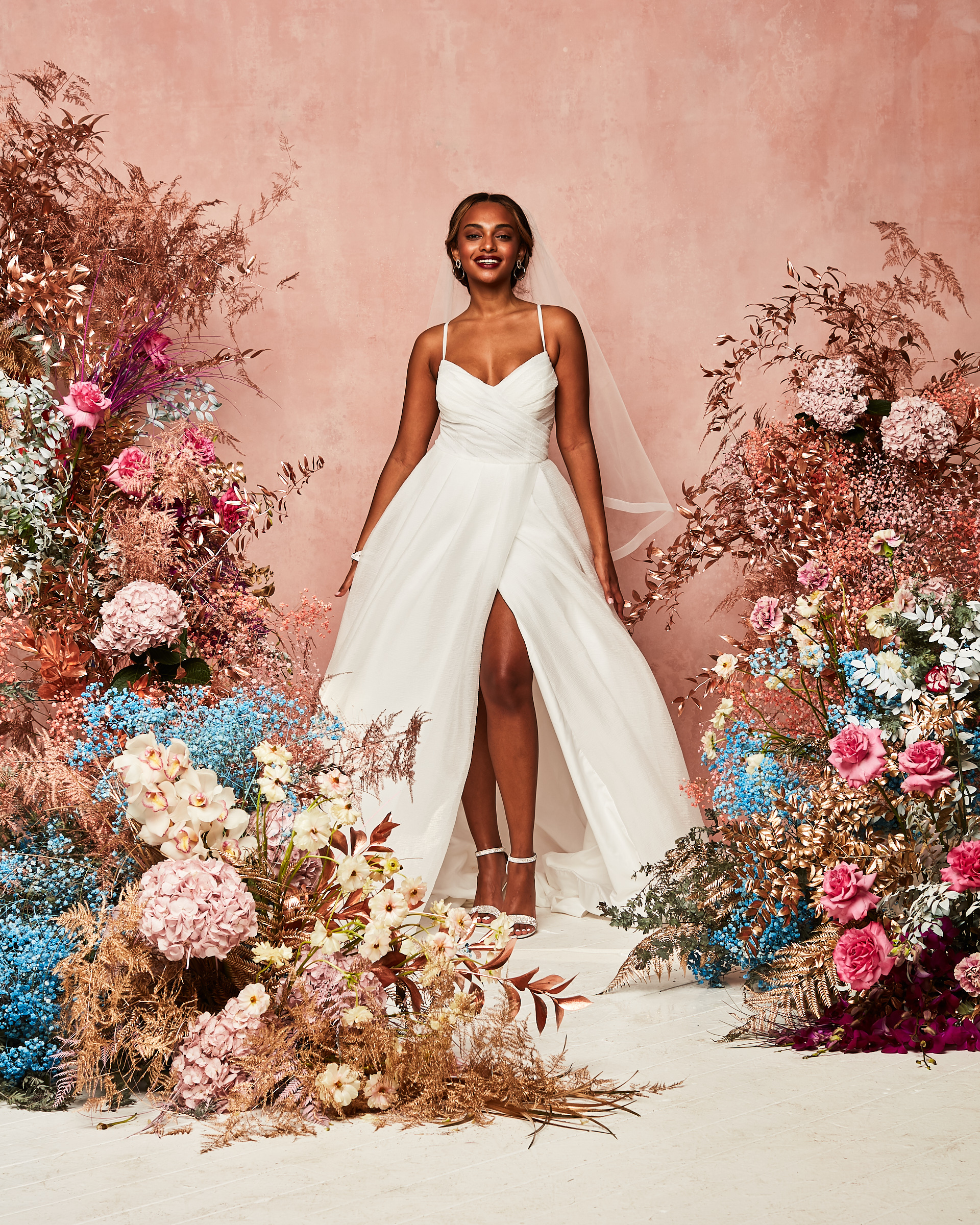 wrapped / draped wedding dress from David's Bridal Spring 2021 Collection