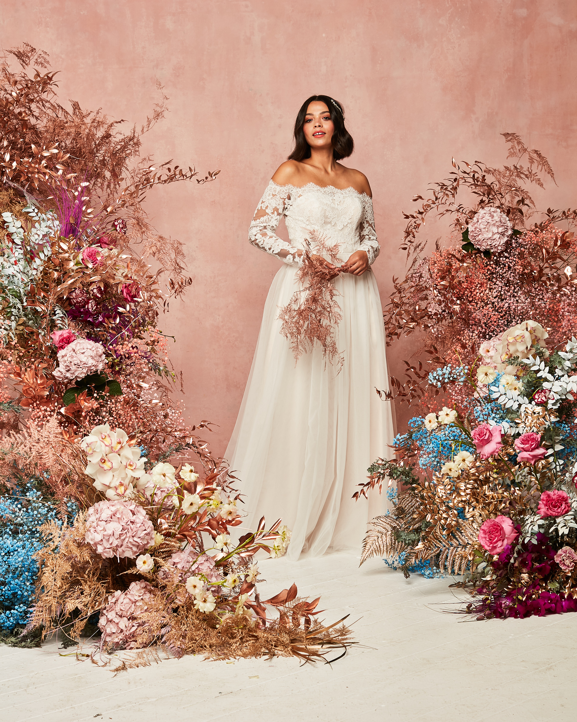 off shoulder long lace sleeve wedding dress from David's Bridal Spring 2021 Collection