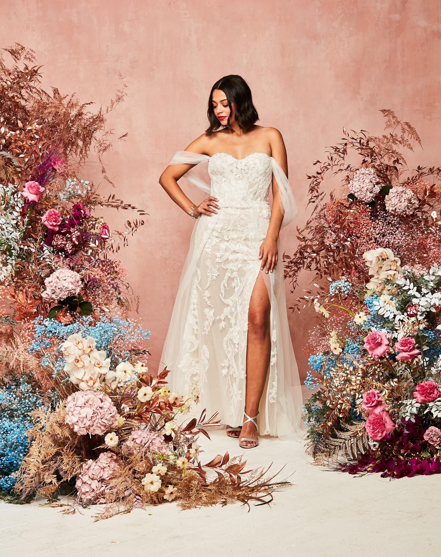 off shoulder tulle sleeve wedding dress David's Bridal Spring 2021 Collection