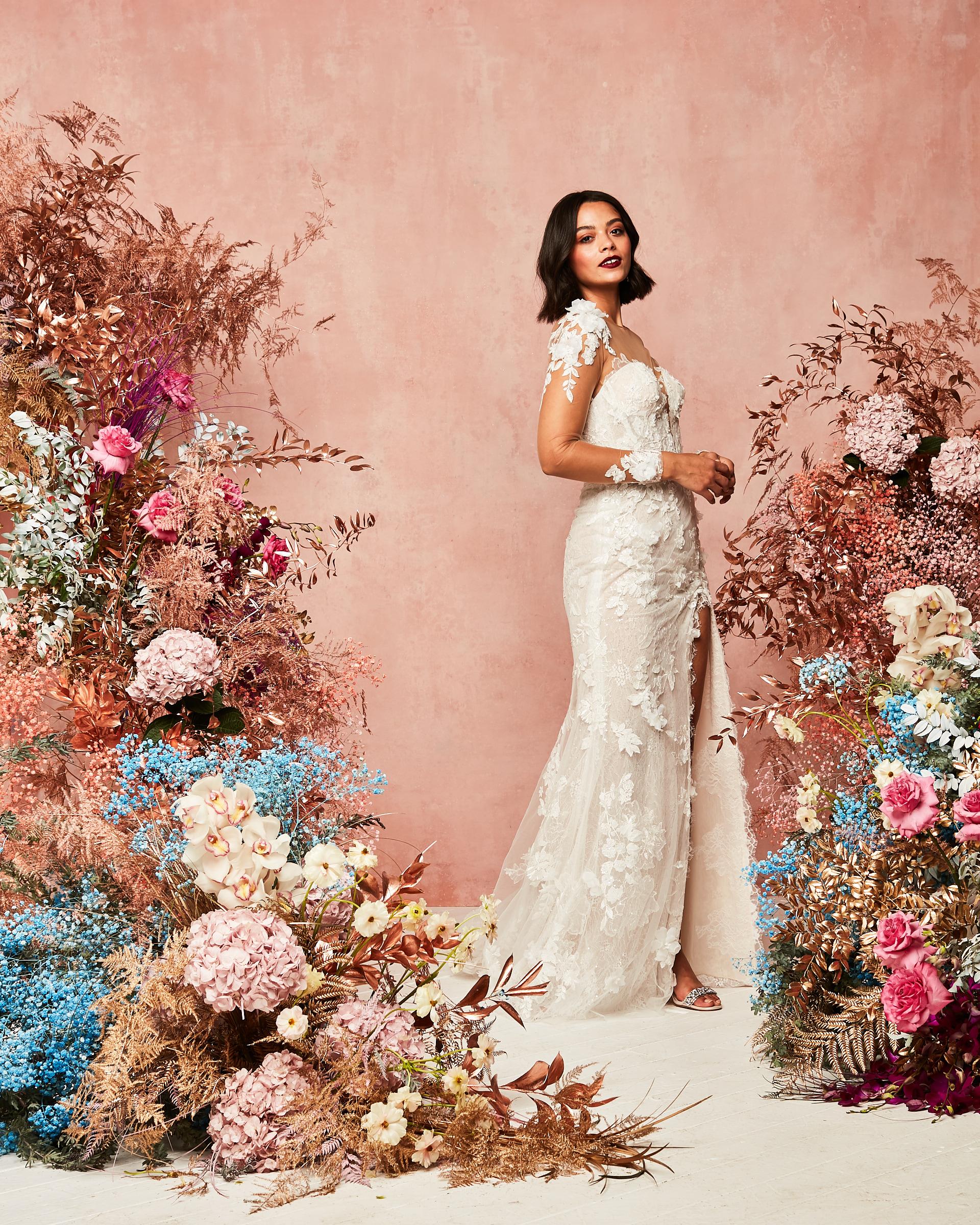 lace floral applique wedding dress david's bridal spring 2021 collection