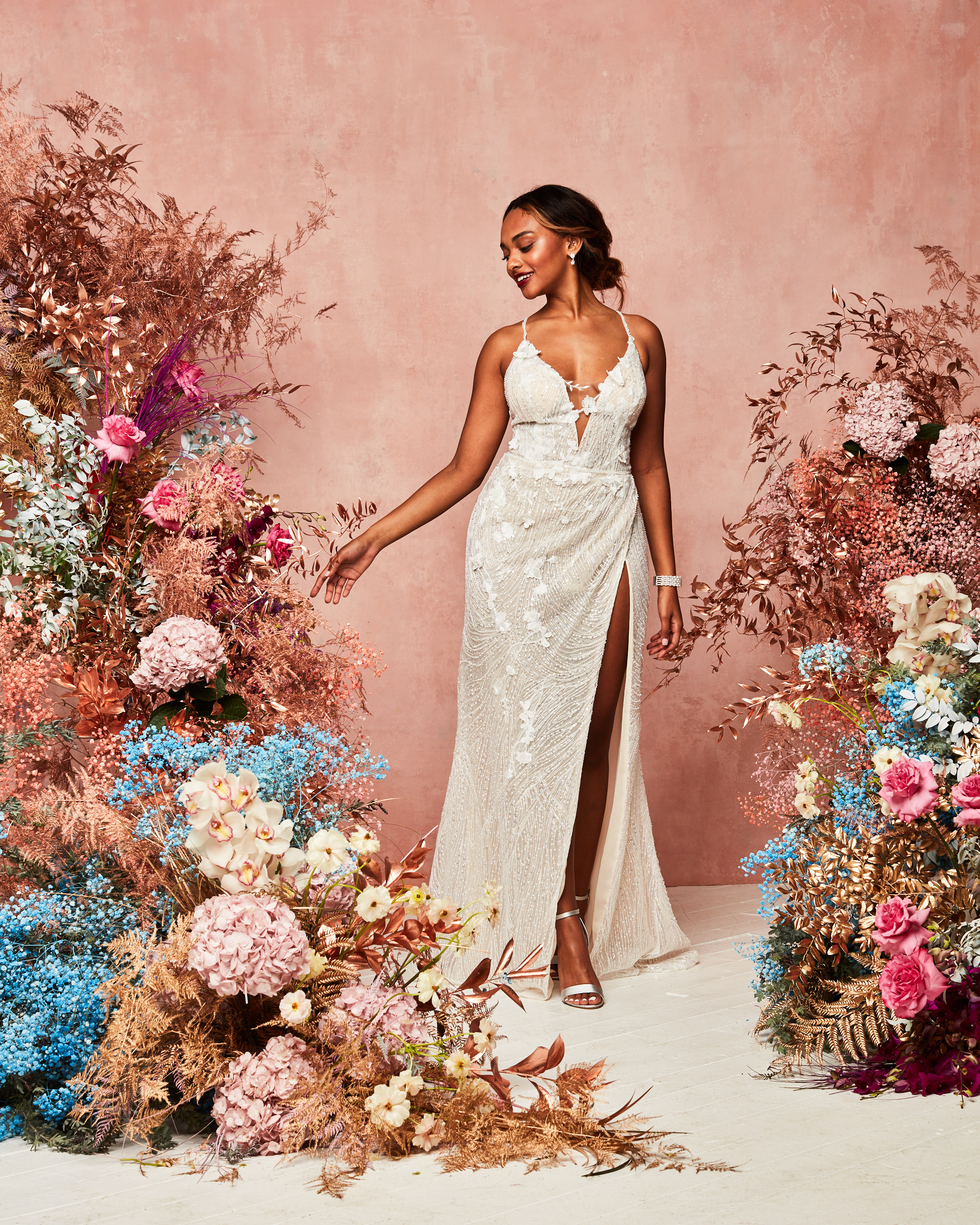 halter top gown with slit from David's Bridal Spring 2021 Collection