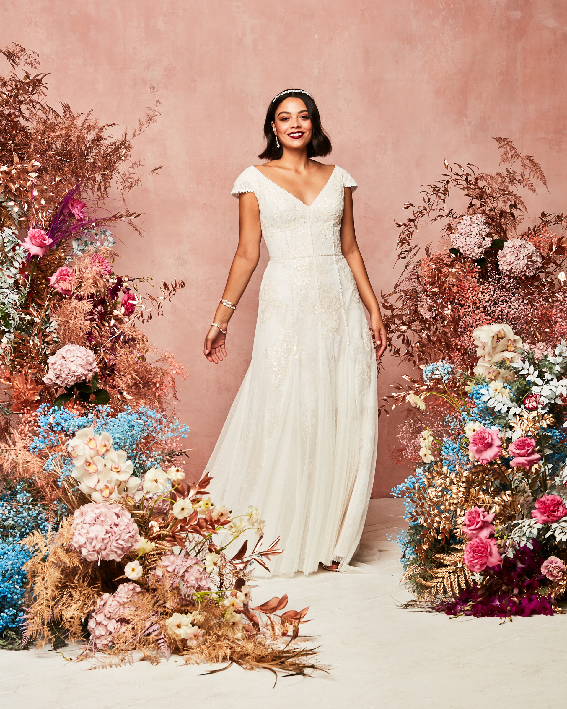 cap sleeve gown from David's Bridal Spring 2021 Collection