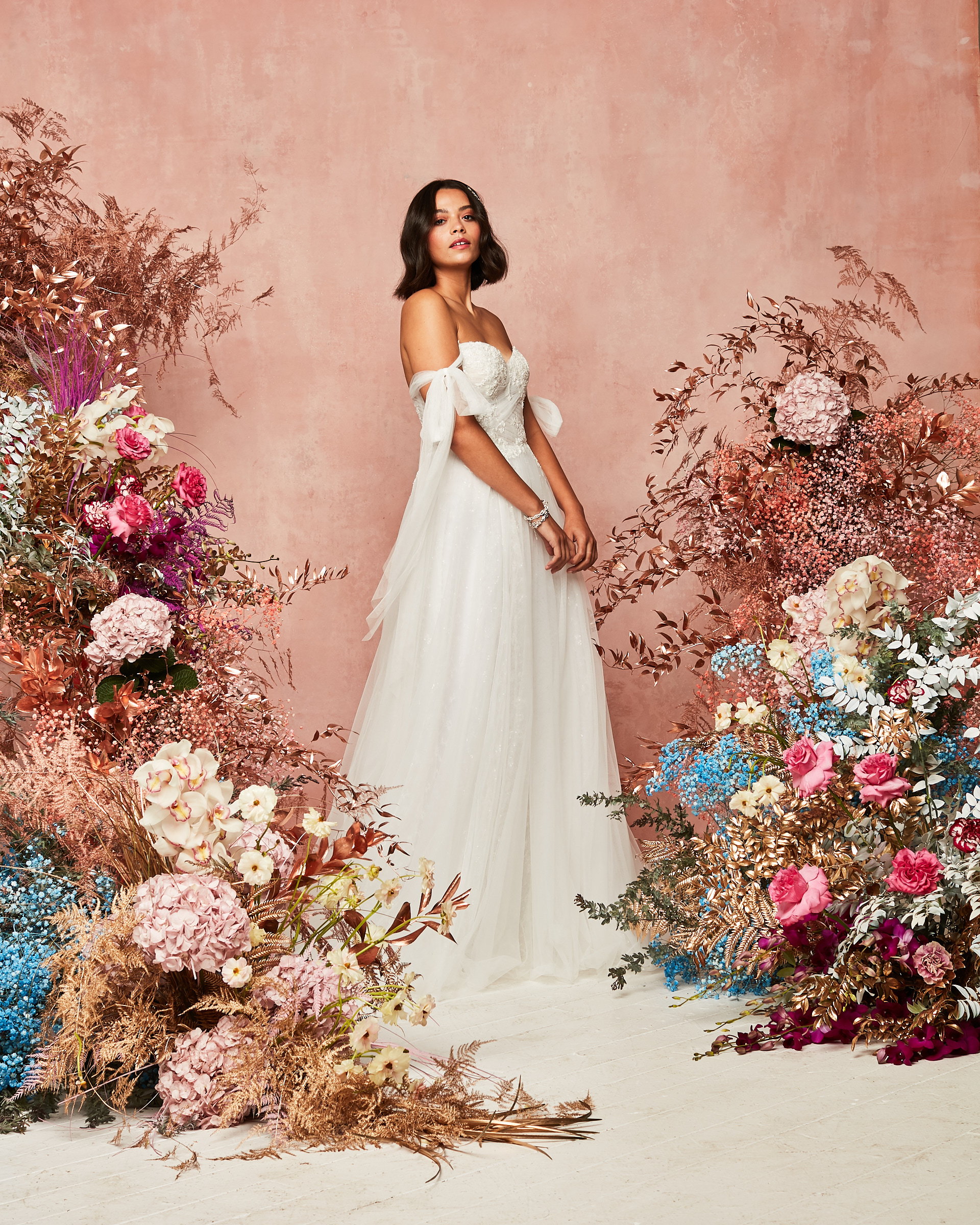 off shoulder tulle gown from David's Bridal Spring 2021 Collection