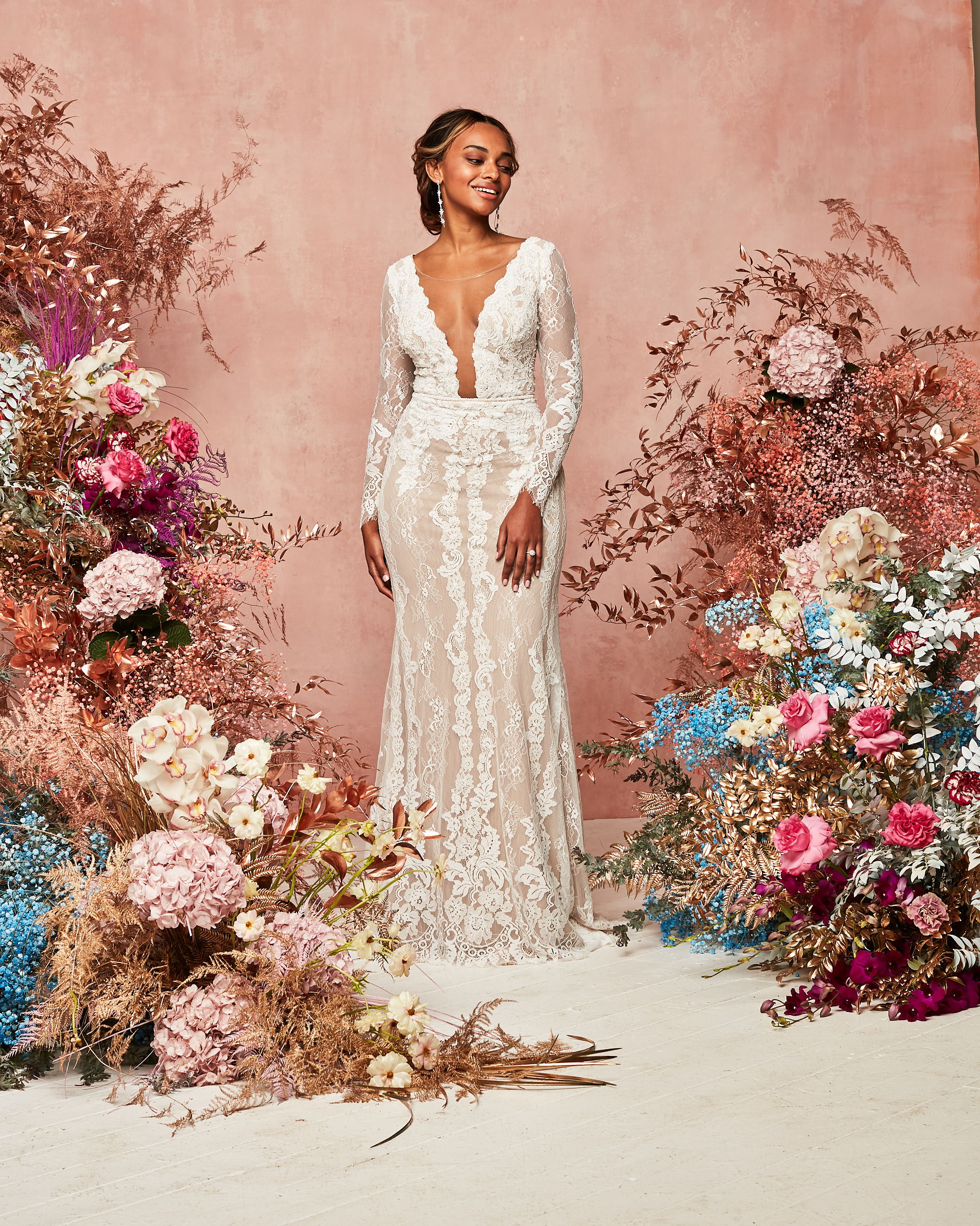 plunge neckline long sleeve semi sheer lace gown David's Bridal Spring 2021 Collection