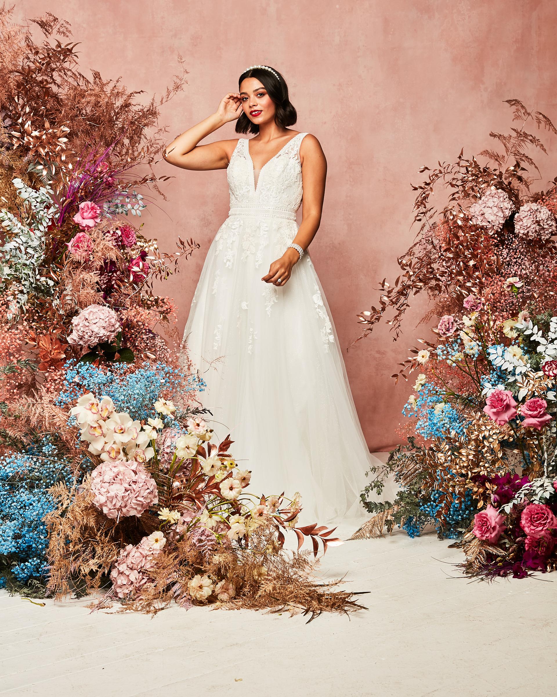 floral applique gown David's Bridal Spring 2021 Collection