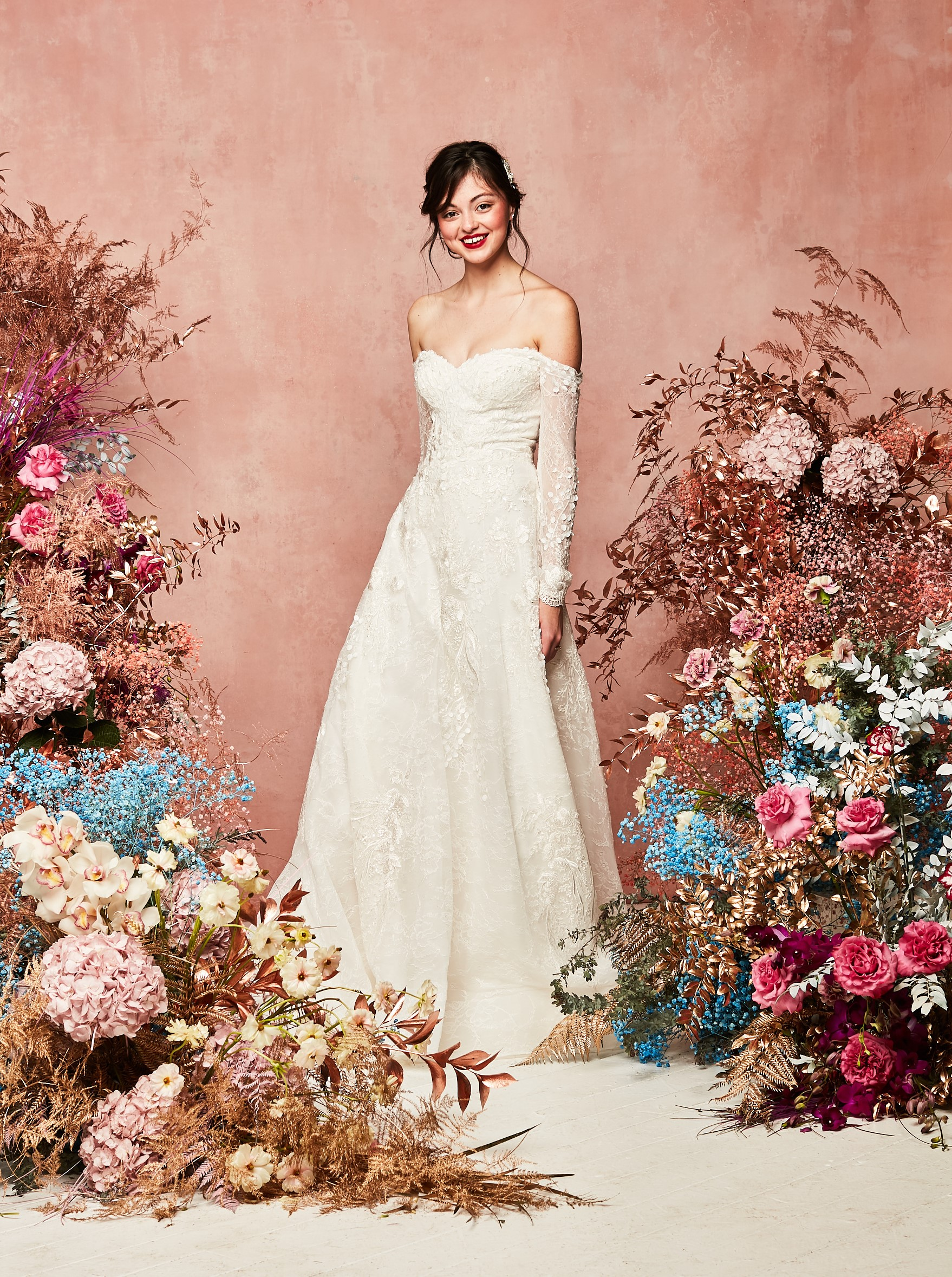 long sleeve off shoulder lace applique gown from  David's Bridal Spring 2021 Collection