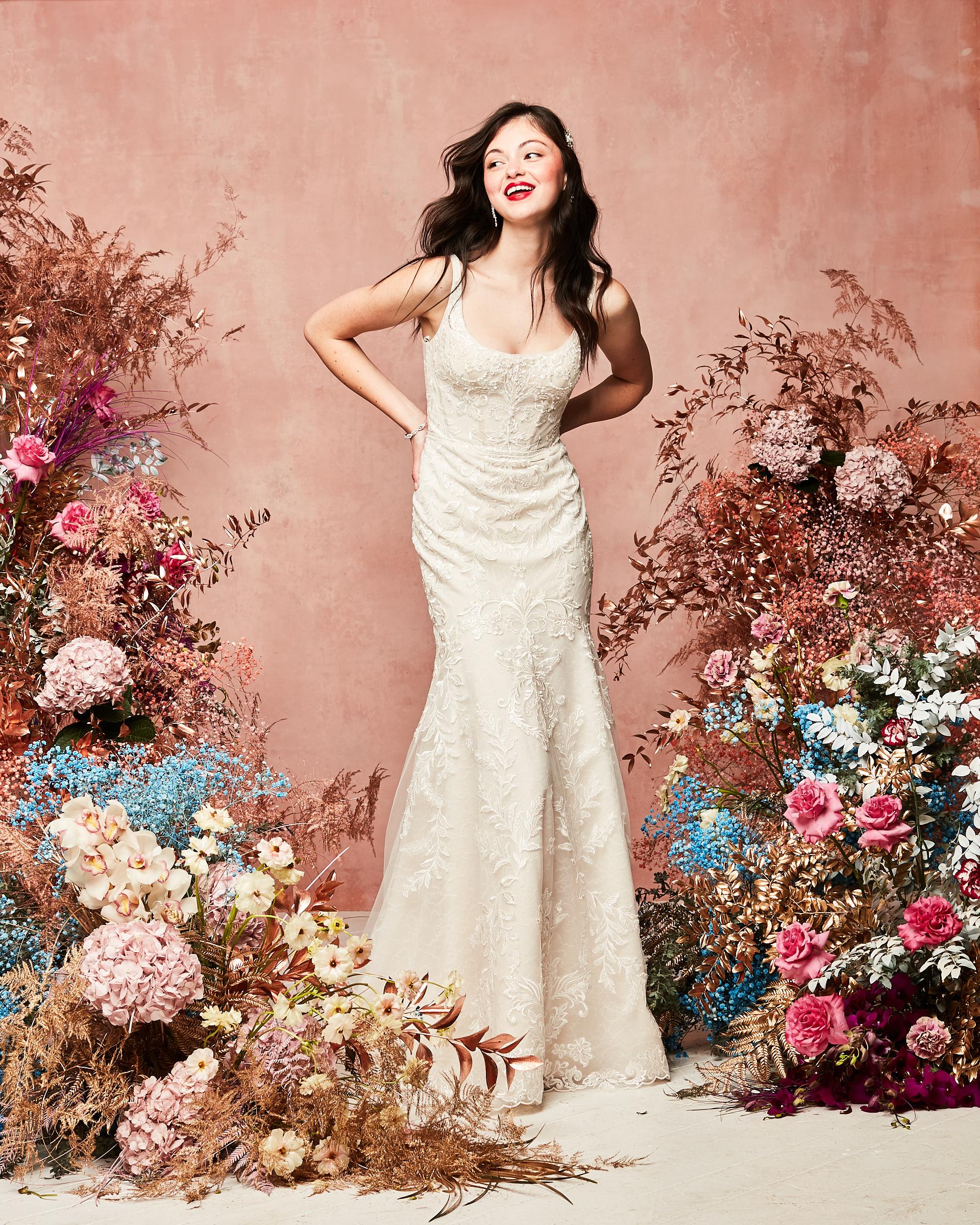 David's Bridal Spring 2021 Collection lace applique mermaid sheath dress