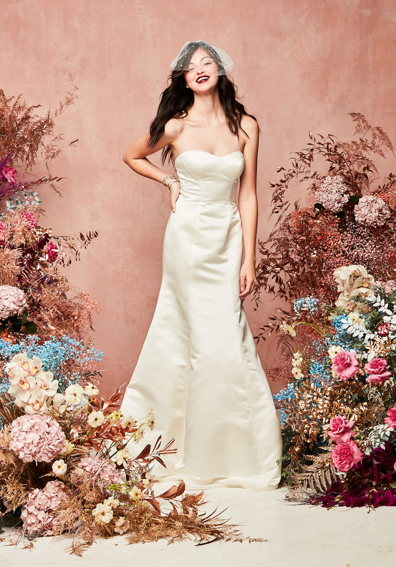 David's Bridal Spring 2021 Collection simple mermaid gown with sweetheart neckline